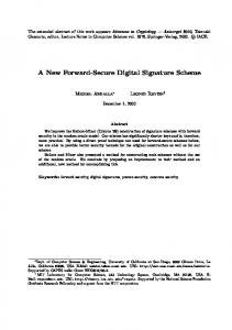 A New Forward-Secure Digital Signature Scheme - Computer Science