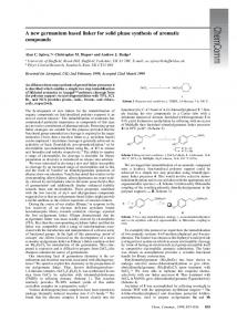 A new germanium based linker for solid phase synthesis ... - Workspace
