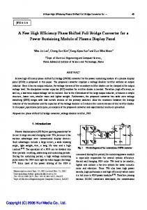 A New High Efficiency Phase Shifted Full Bridge Converter for a ... - JPE