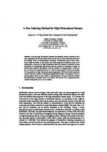 A New Indexing Method for High Dimensional Dataset - University of