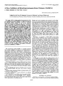 A New Inhibitor of Metalloproteinases from Chicken - The Journal of ...