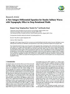 A New Integro-Differential Equation for Rossby Solitary Waves with