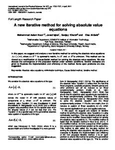 A new iterative method for solving absolute value ... - Academic Journals