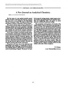 A New Journal on Analytical Chemistry