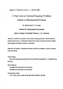 A New Look at Optimal Stopping Problems related to ... - CiteSeerX