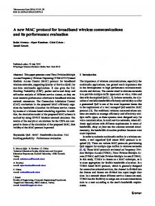 A new MAC protocol for broadband wireless ... - Springer Link
