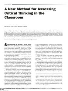 A New Method for Assessing Critical Thinking in the Classroom