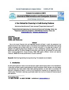 A New Method for Clustering in Credit Scoring Problems