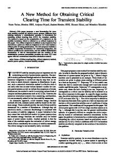 A New Method for Obtaining Critical Clearing Time for ... - CiteSeerX