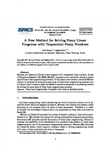 A New Method for Solving Fuzzy Linear Programs ... - Semantic Scholar