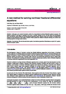 A new method for solving nonlinear fractional