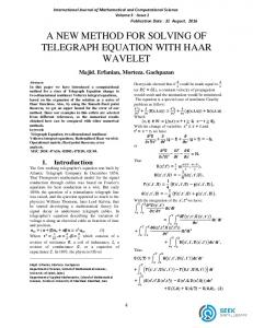 a new method for solving of telegraph equation with ...
