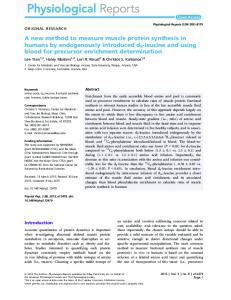 A new method to measure muscle protein ... - Semantic Scholar