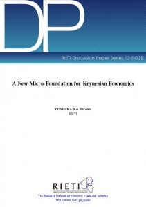 A New Micro-Foundation for Keynesian Economics