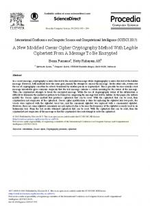 A New Modified Caesar Cipher Cryptography Method with ... - Core