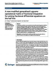 A new modified generalized Laguerre operational ...