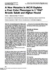 A New Mutation in MC1R Explains a Coat Color Phenotype in 2 ''Old ...