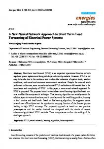 A New Neural Network Approach to Short Term Load ... - MDPI
