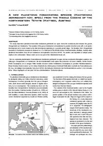A new planktonic foraminifera species ( nov. spec.) from the Middle ...