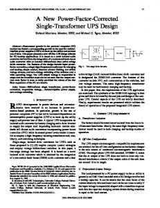 A new power-factor-corrected single-transformer UPS ... - IEEE Xplore