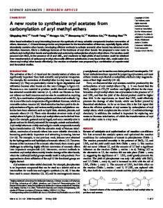 A new route to synthesize aryl acetates from carbonylation of aryl ...