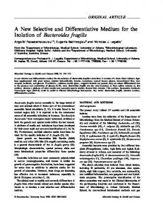 A New Selective and Differentiative Medium for the Isolation of ...