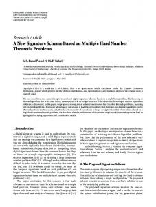 A New Signature Scheme Based on Multiple Hard Number Theoretic ...