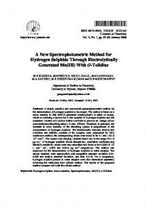 A New Spectrophotometric Method for Hydrogen