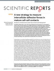 A new strategy to measure intercellular adhesion ...
