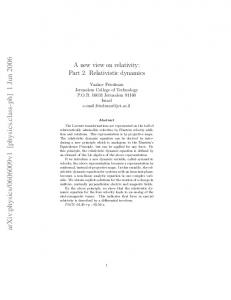 A new view on relativity: Part 2. Relativistic dynamics