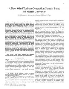 A New Wind Turbine Generation System Based on Matrix Converter