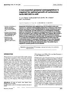 A non-essential glutamyl aminopeptidase is required for ... - CiteSeerX