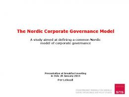 A Nordic Model of Corporate Governance