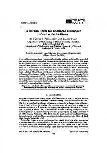A normal form for nonlinear resonance of embedded ... - CiteSeerX