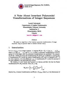A Note About Invariant Polynomial Transformations of Integer