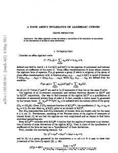 A note about invariants of algebraic curves