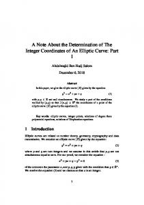 A Note About the Determination of The Integer Coordinates of ... - viXra