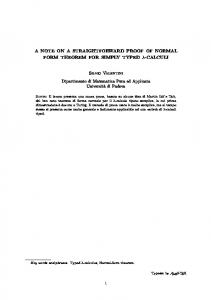 A NOTE ON A STRAIGHTFORWARD PROOF OF NORMAL ... - Unipd