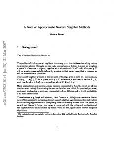 A Note on Approximate Nearest Neighbor Methods