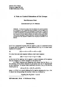 A Note on Central Extensions of Lie Groups - Heldermann-Verlag