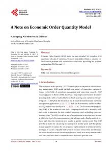 A Note on Economic Order Quantity Model - Scientific Research