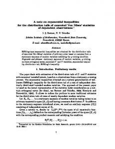 A note on exponential inequalities for the distribution ...