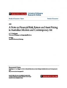 A Note on Financial Risk, Return and Asset Pricing in
