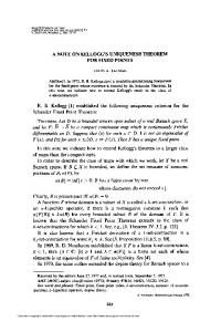 a note on kellogg's uniqueness theorem - American Mathematical ...