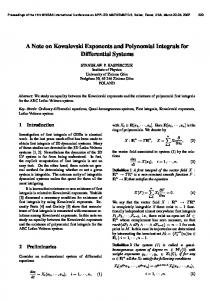 A Note on Kowalevski Exponents and Polynomial