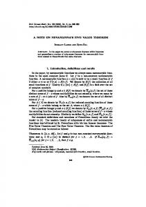A NOTE ON NEVANLINNA'S FIVE VALUE THEOREM 1. Introduction ...