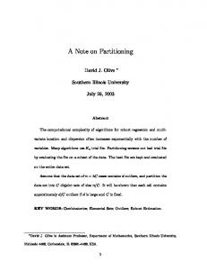A Note on Partitioning - Southern Illinois University