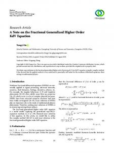 A Note on the Fractional Generalized Higher Order KdV Equation