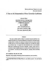 A Note on the Interpretation of Error Correction ... - Semantic Scholar