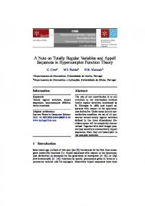 A Note on Totally Regular Variables and Appell ... - Semantic Scholar